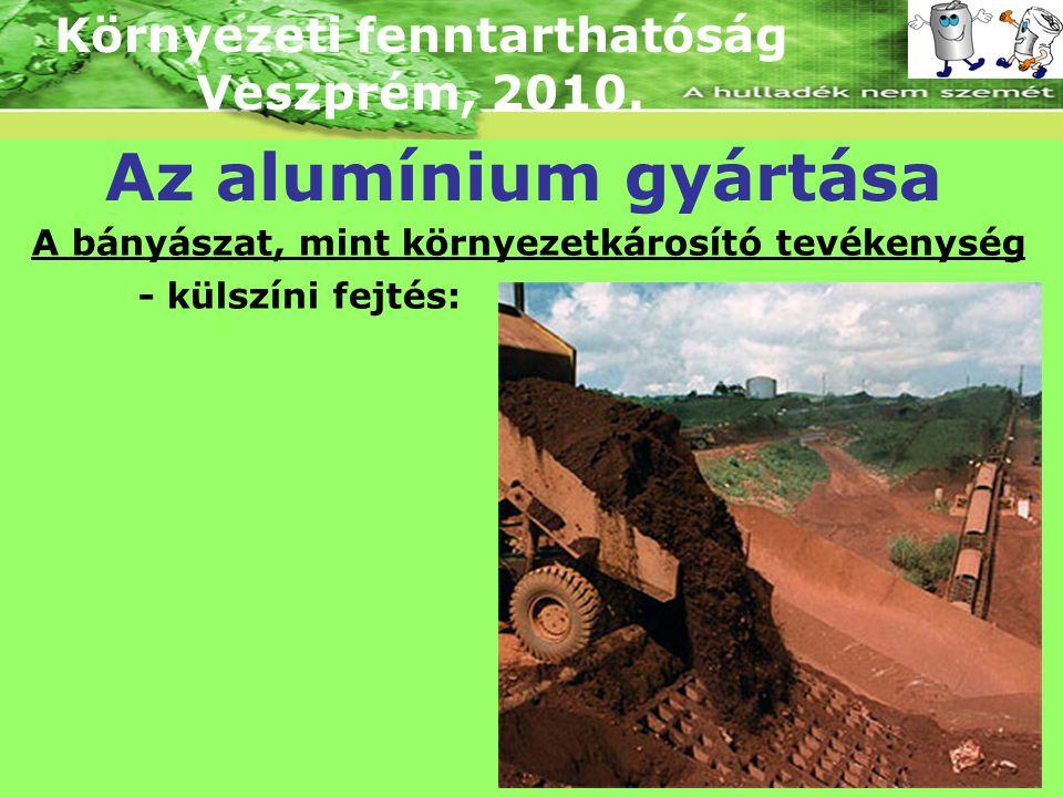 Környezeti fenntarthatóság Veszprém, 2010. Az alumínium gyártása A bányászat, mint környezetkárosító tevékenység - külszíni fejtés: