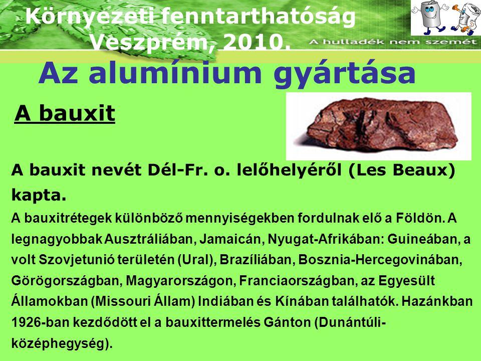 Környezeti fenntarthatóság Veszprém, 2010. Az alumínium gyártása A bauxit A bauxit nevét Dél-Fr. o. lelőhelyéről (Les Beaux) kapta. A bauxitrétegek kü