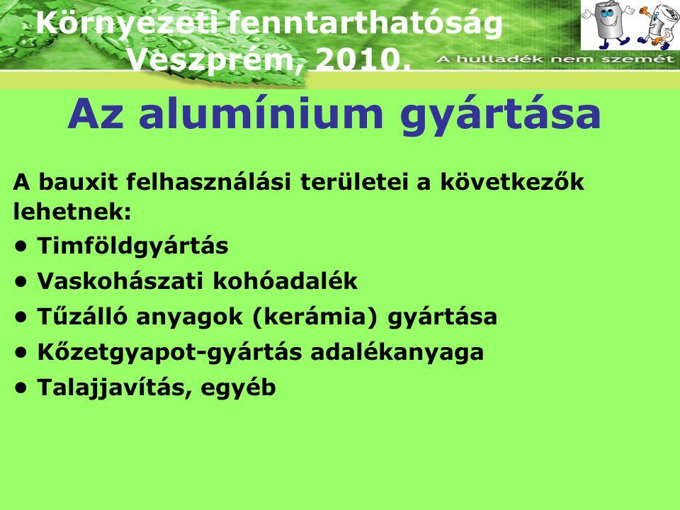 Környezeti fenntarthatóság Veszprém, 2010. Az alumínium gyártása A bauxit felhasználási területei a következők lehetnek: Timföldgyártás Vaskohászati k