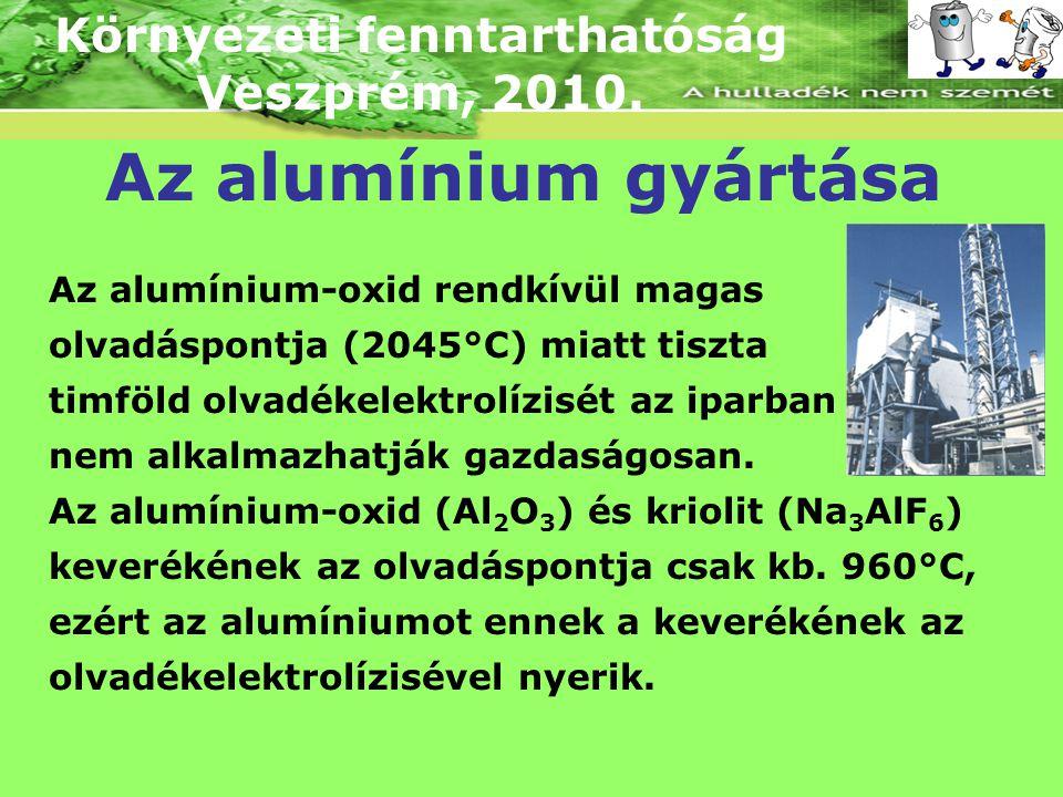 Környezeti fenntarthatóság Veszprém, 2010. Az alumínium gyártása Az alumínium-oxid rendkívül magas olvadáspontja (2045°C) miatt tiszta timföld olvadék
