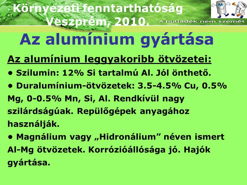 Környezeti fenntarthatóság Veszprém, 2010. Az alumínium gyártása Az alumínium leggyakoribb ötvözetei: Szilumin: 12% Si tartalmú Al. Jól önthető. Dural