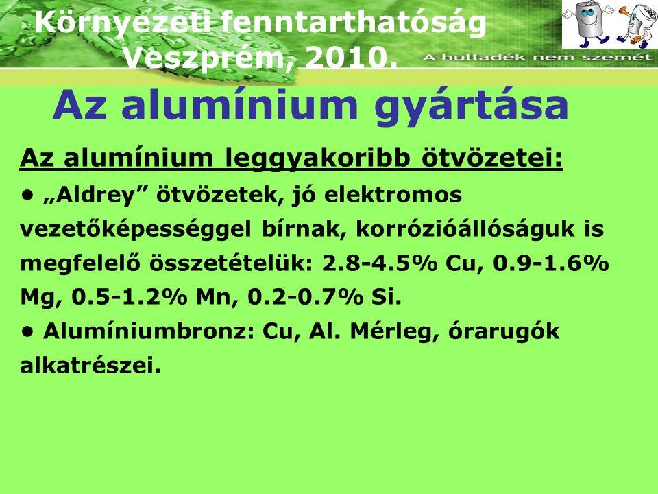 """Környezeti fenntarthatóság Veszprém, 2010. Az alumínium gyártása Az alumínium leggyakoribb ötvözetei: """"Aldrey"""" ötvözetek, jó elektromos vezetőképesség"""