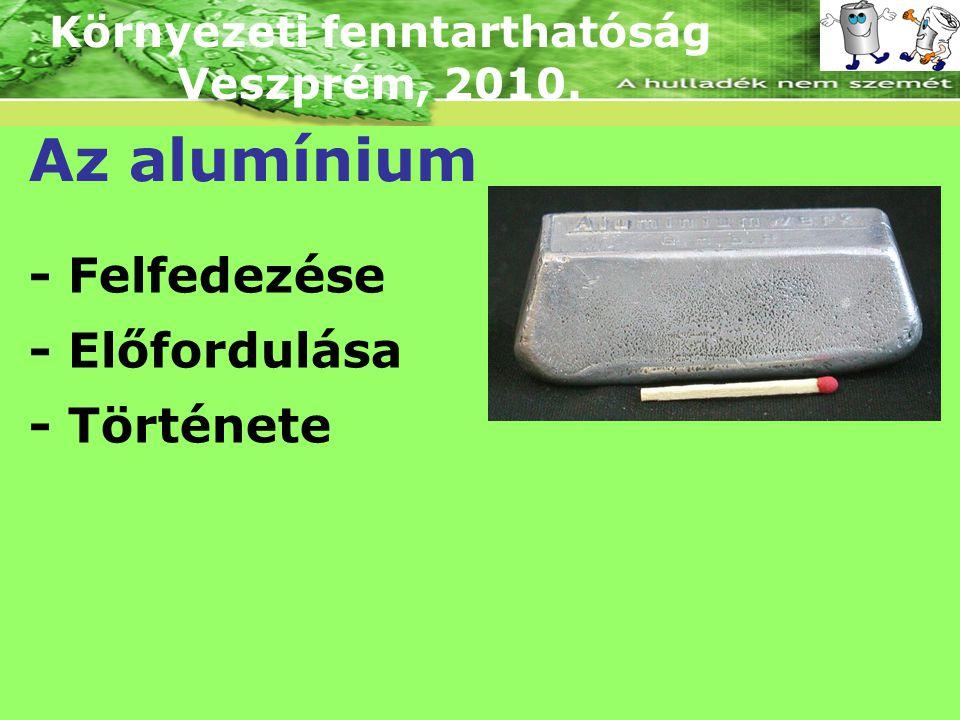 Környezeti fenntarthatóság Veszprém, 2010. Az alumínium - Felfedezése - Előfordulása - Története