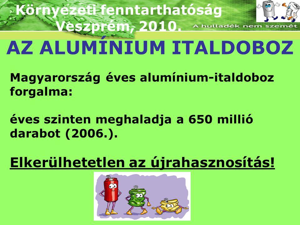 Környezeti fenntarthatóság Veszprém, 2010. AZ ALUMÍNIUM ITALDOBOZ Magyarország éves alumínium-italdoboz forgalma: éves szinten meghaladja a 650 millió