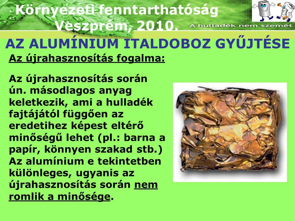 Környezeti fenntarthatóság Veszprém, 2010. AZ ALUMÍNIUM ITALDOBOZ GYŰJTÉSE Az újrahasznosítás során ún. másodlagos anyag keletkezik, ami a hulladék fa