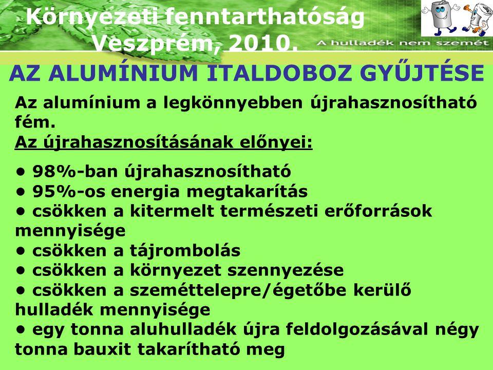 Környezeti fenntarthatóság Veszprém, 2010. AZ ALUMÍNIUM ITALDOBOZ GYŰJTÉSE Az alumínium a legkönnyebben újrahasznosítható fém. Az újrahasznosításának