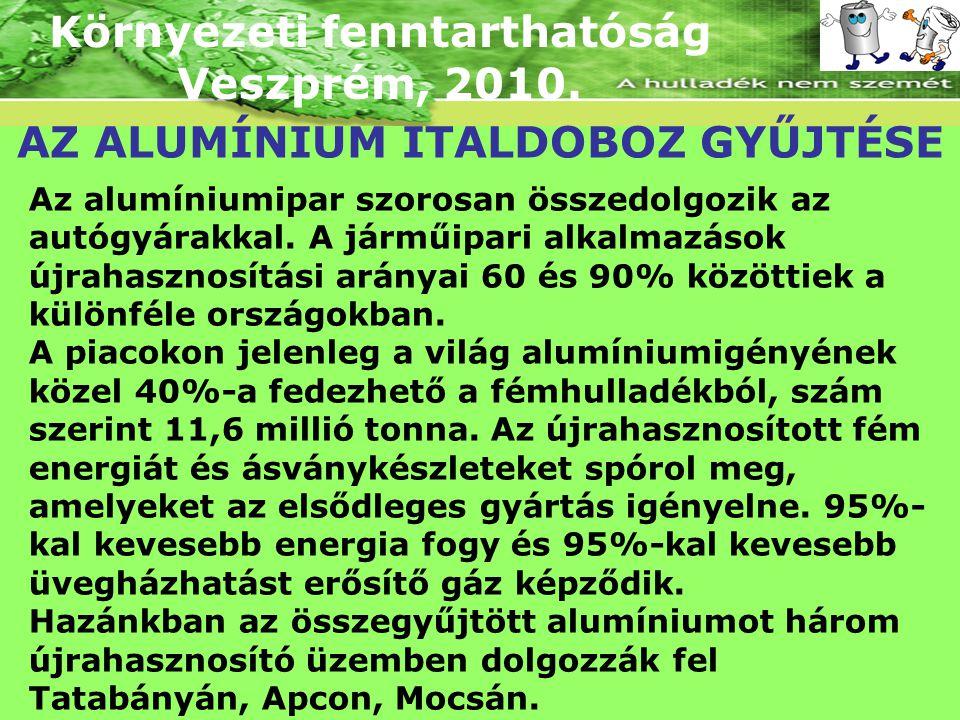 Környezeti fenntarthatóság Veszprém, 2010. AZ ALUMÍNIUM ITALDOBOZ GYŰJTÉSE Az alumíniumipar szorosan összedolgozik az autógyárakkal. A járműipari alka
