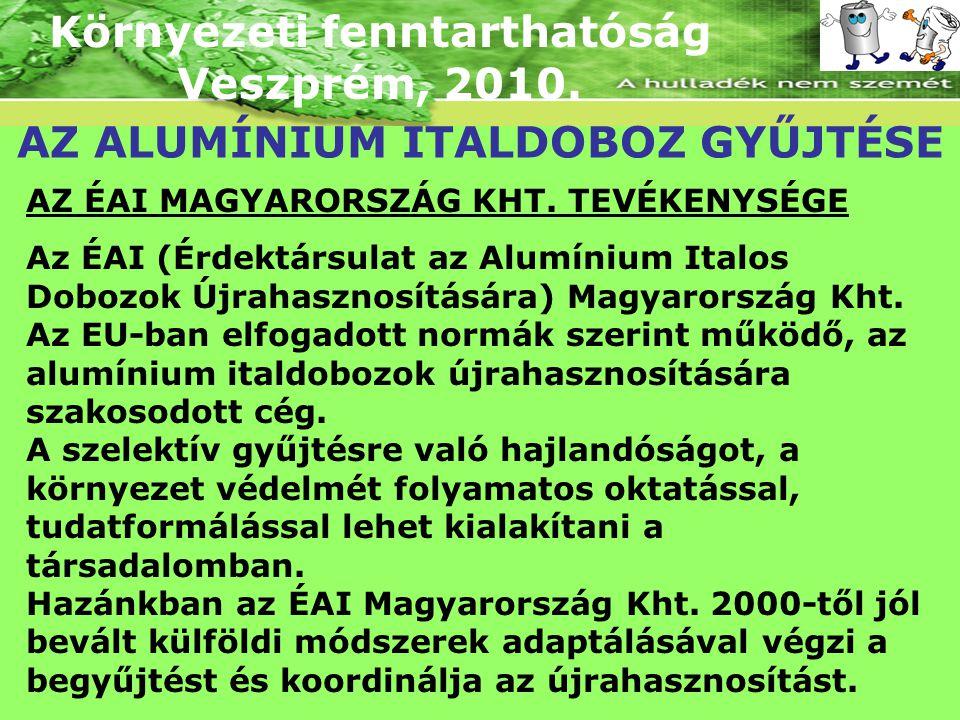 Környezeti fenntarthatóság Veszprém, 2010. AZ ALUMÍNIUM ITALDOBOZ GYŰJTÉSE AZ ÉAI MAGYARORSZÁG KHT. TEVÉKENYSÉGE Az ÉAI (Érdektársulat az Alumínium It