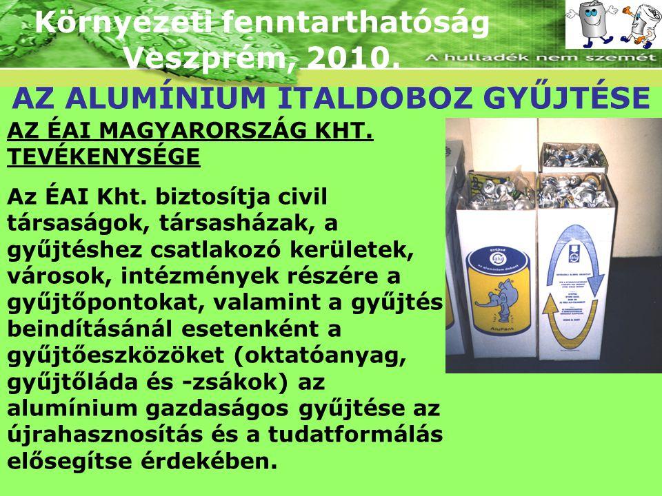 Környezeti fenntarthatóság Veszprém, 2010. AZ ALUMÍNIUM ITALDOBOZ GYŰJTÉSE AZ ÉAI MAGYARORSZÁG KHT. TEVÉKENYSÉGE Az ÉAI Kht. biztosítja civil társaság
