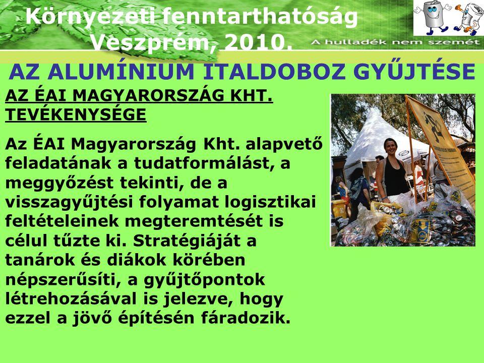 Környezeti fenntarthatóság Veszprém, 2010. AZ ALUMÍNIUM ITALDOBOZ GYŰJTÉSE AZ ÉAI MAGYARORSZÁG KHT. TEVÉKENYSÉGE Az ÉAI Magyarország Kht. alapvető fel