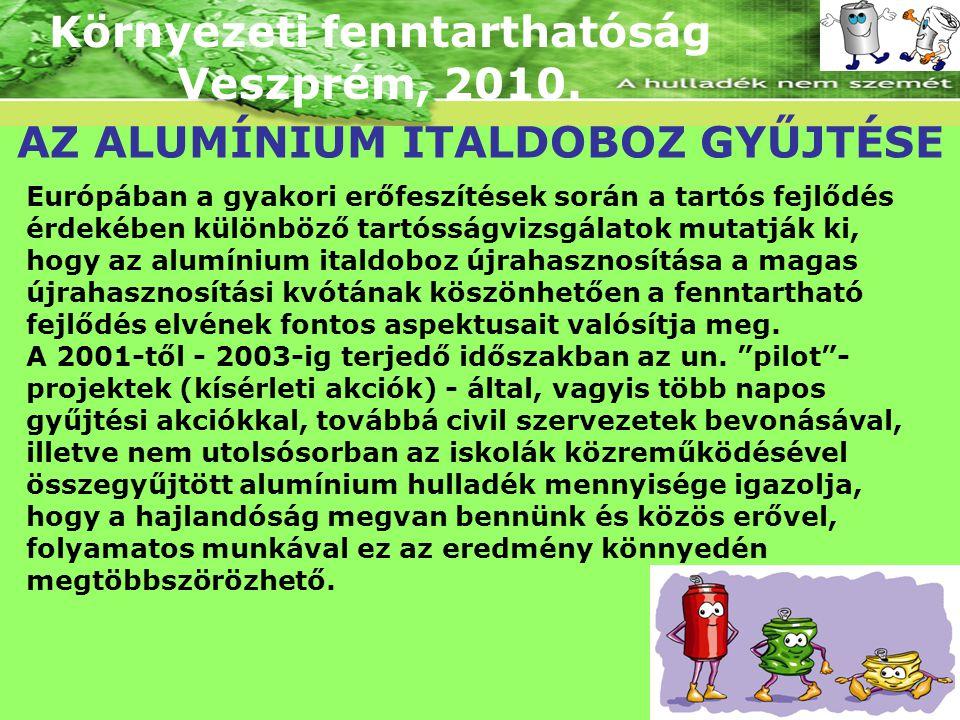 Környezeti fenntarthatóság Veszprém, 2010. AZ ALUMÍNIUM ITALDOBOZ GYŰJTÉSE Európában a gyakori erőfeszítések során a tartós fejlődés érdekében különbö