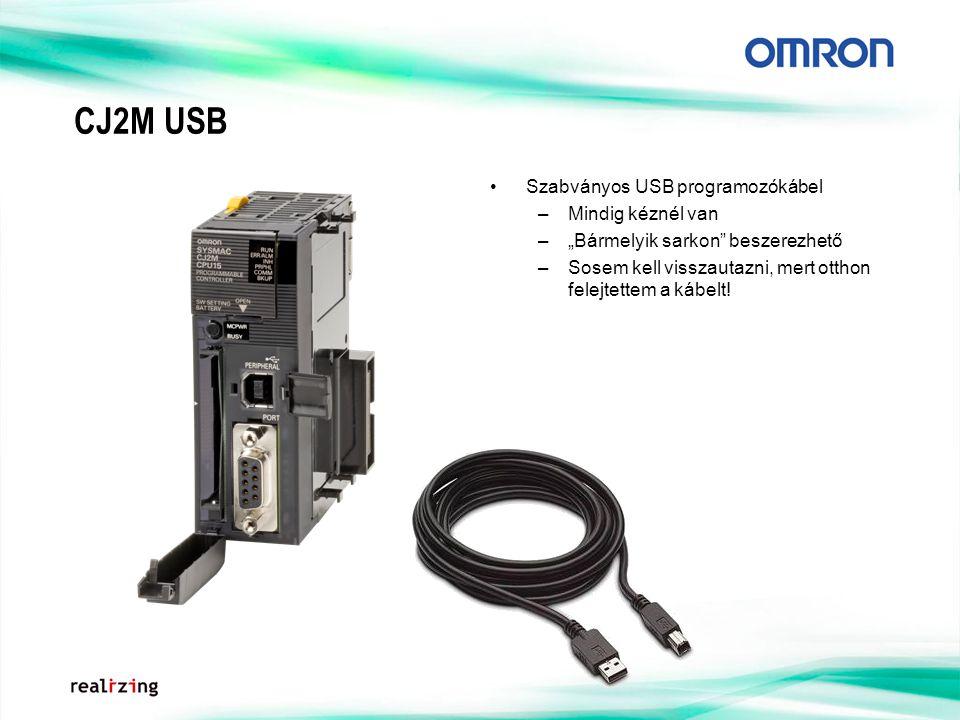 """CJ2M USB Szabványos USB programozókábel –Mindig kéznél van –""""Bármelyik sarkon"""" beszerezhető –Sosem kell visszautazni, mert otthon felejtettem a kábelt"""