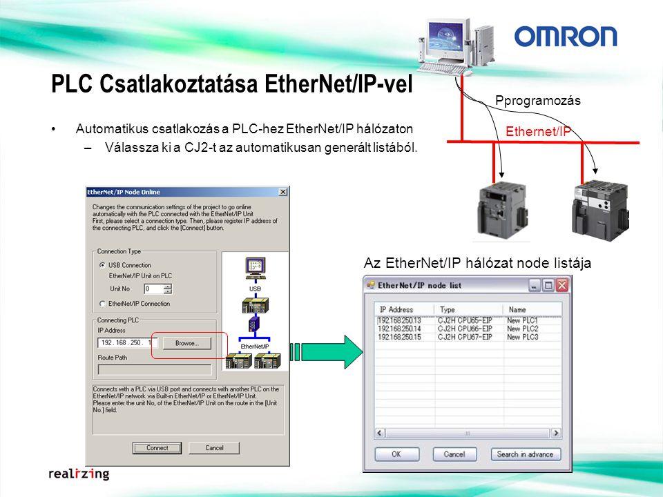PLC Csatlakoztatása EtherNet/IP-vel Automatikus csatlakozás a PLC-hez EtherNet/IP hálózaton –Válassza ki a CJ2-t az automatikusan generált listából. A