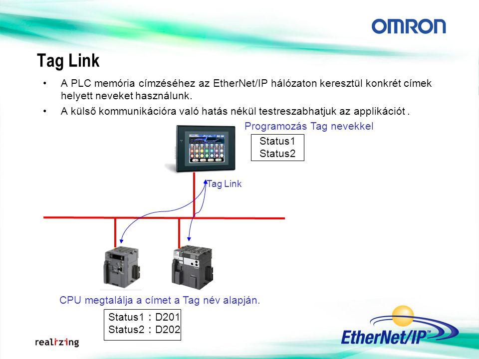 Tag Link Status1 : D201 Status2 : D202 Status1 Status2 Programozás Tag nevekkel CPU megtalálja a címet a Tag név alapján. A PLC memória címzéséhez az