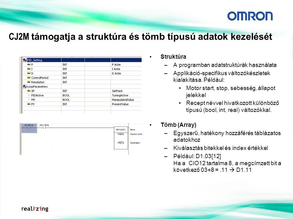 CJ2M támogatja a struktúra és tömb típusú adatok kezelését Struktúra –A programban adatstruktúrák használata –Applikáció-specifikus változókészletek kialakítása.
