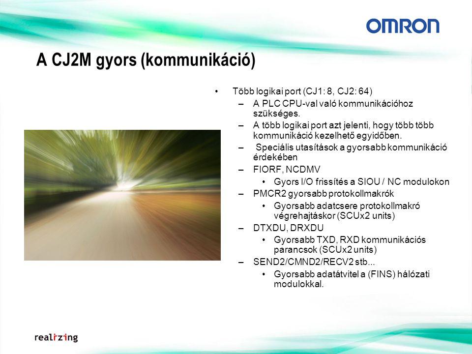 A CJ2M gyors (kommunikáció) Több logikai port (CJ1: 8, CJ2: 64) –A PLC CPU-val való kommunikációhoz szükséges.