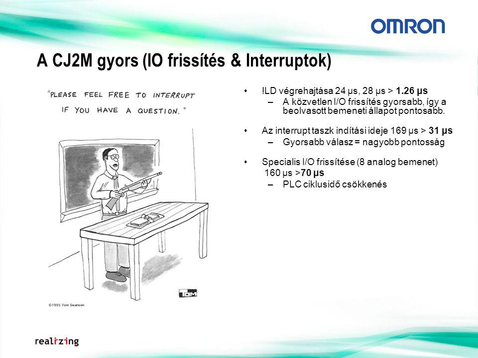 A CJ2M gyors (IO frissítés & Interruptok) !LD végrehajtása 24 μs, 28 μs > 1.26 μs –A közvetlen I/O frissítés gyorsabb, így a beolvasott bemeneti állapot pontosabb.
