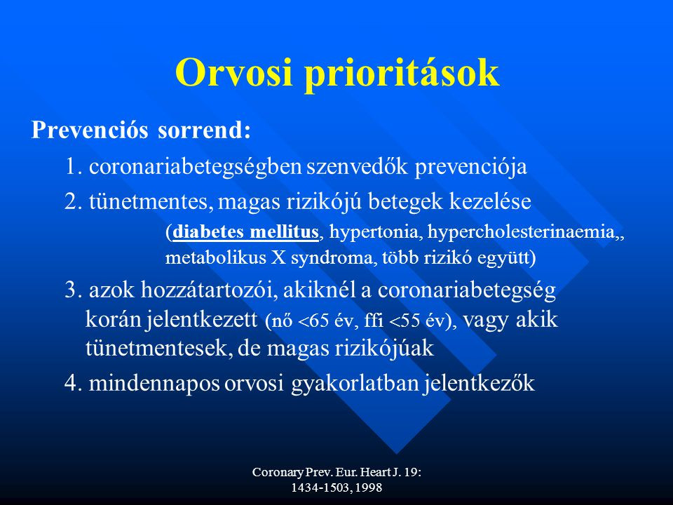 Coronary Prev.Eur. Heart J. 19: 1434-1503, 1998 Orvosi prioritások Prevenciós sorrend: 1.
