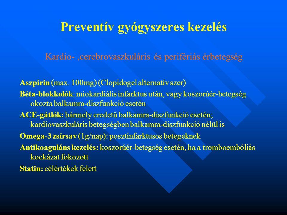 Preventív gyógyszeres kezelés Kardio-,cerebrovaszkuláris és perifériás érbetegség Aszpirin (max.