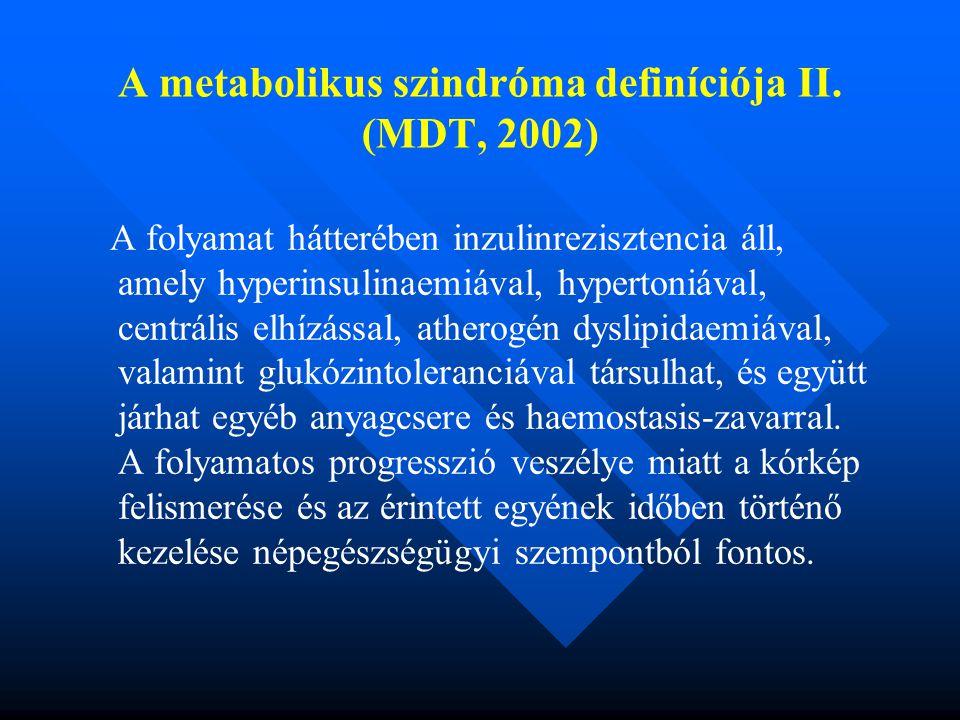 A metabolikus szindróma definíciója II.