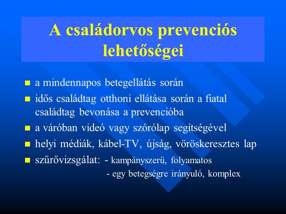 A metabolikus szindróma diagnosztikus kritériumai A Magyar Diabetes Társaság Metabolikus Munkacsoportjának ajánlása Glukózintolarancia IGT (csökkent glukóztolerancia) vagy IFG ( emelkedett éhomi vércukor) vagy glukózterheléssel igazolt 2-es típusú diabétesz vagy inzulinrezisztencia (HOMA-érték >4,4) Hypertónia Ismert vagy újonnan igazolt (ismételt eseti mérése >140/90 Hgmm) Diszlipidémia Szérum triglicerid ≥1,7 mmol/l vagy HDL 5,2 mmol/l (LDL- koleszterin >3,4 mmol/l) Elhízás BMI>27,0 kg/m 2 vagy derékkörfogat nők >80 cm, férfiak >94 cm.
