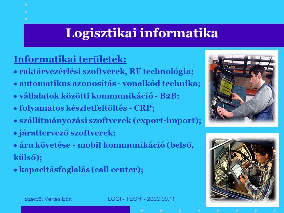 Szerző: Vértes EditLOGI - TECH - 2002.09.11.9 Logisztikai informatika Logisztikai láncot alkotó tevékenységek: raktározás,  komissiózás,  belső szállítás (anyagmozgatás),  szállítmányozás, fuvarozás.