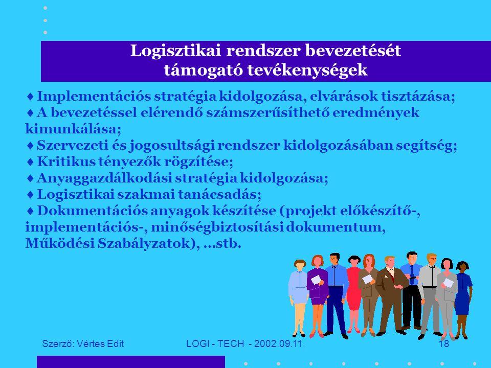 Szerző: Vértes EditLOGI - TECH - 2002.09.11.17 Logisztikai és informatikai tanácsadás stratégiai céljai  Ügyfél problémájának komplex módon való kezelése;  Látens problémák feltárása, megfogalmazása;  Megoldás szállítás: rendszerintegráció + tanácsadás;  Tanácsadás logisztikai informatika eszközeivel;  Megoldás kivitelezésének megszervezése a partner részvételével