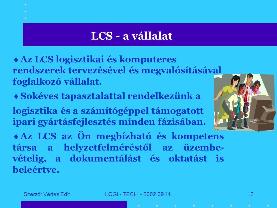 Szerző: Vértes EditLOGI - TECH - 2002.09.11.1 LCS megoldások a logisztikai központok és ipari parkok részére