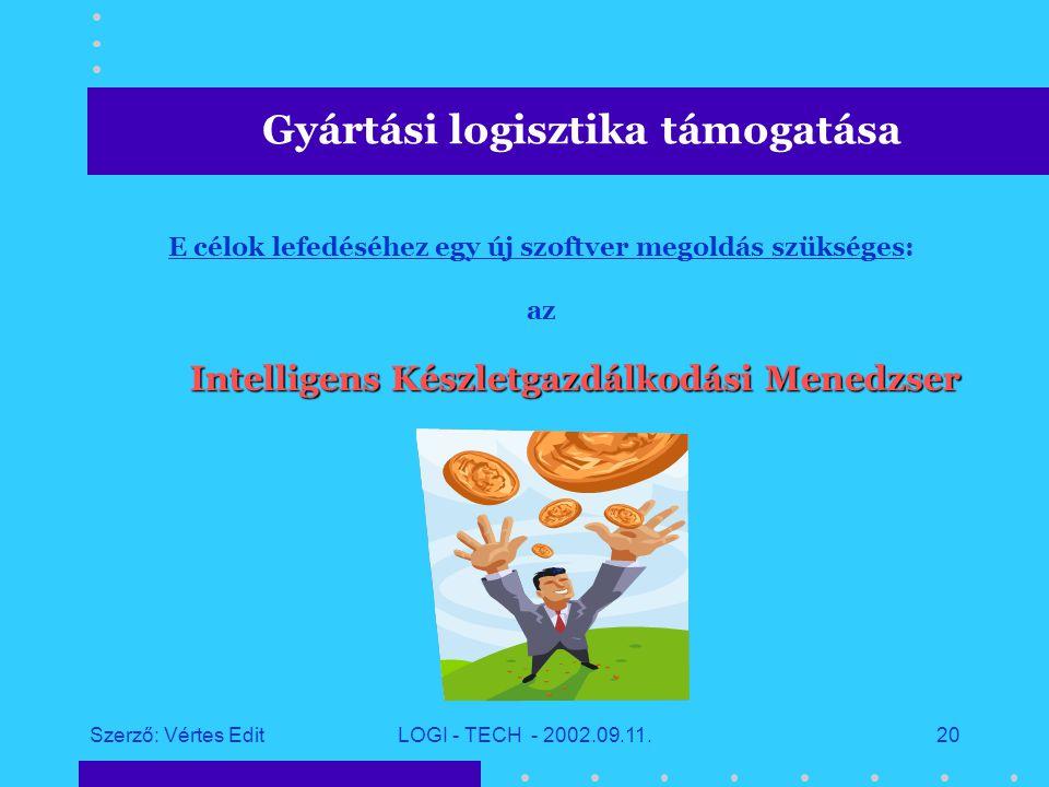 Szerző: Vértes EditLOGI - TECH - 2002.09.11.19 A gyártás hatékonyabbá tételéhez az alábbi célokat fogalmaztuk meg:  átfogó készletnyilvántartás a gyáron belül minden területen (anyagbeérkezés, raktárak, modulgyártás, kanban, termékgyártás)  információ a következő időszakban beérkező anyagokról  gyors anyag- és információáramlás (ne kelljen az adatok cseréjére, illetve a szállításokra várni)  helyi felelősség a raktárkészletek felett  az anyagkészletek információit a megrendelések elvállalásához közvetlenül lehessen felhasználni (konfigurálás, alternatív anyagok, határidők, OK, #OK )  a kanban készlet megosztásának lehetősége más gyáregységekkel Gyártási logisztika támogatása