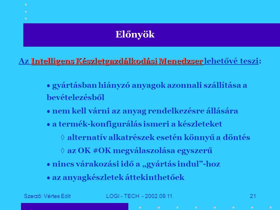 Szerző: Vértes EditLOGI - TECH - 2002.09.11.20 E célok lefedéséhez egy új szoftver megoldás szükséges: az Intelligens Készletgazdálkodási Menedzser Gyártási logisztika támogatása