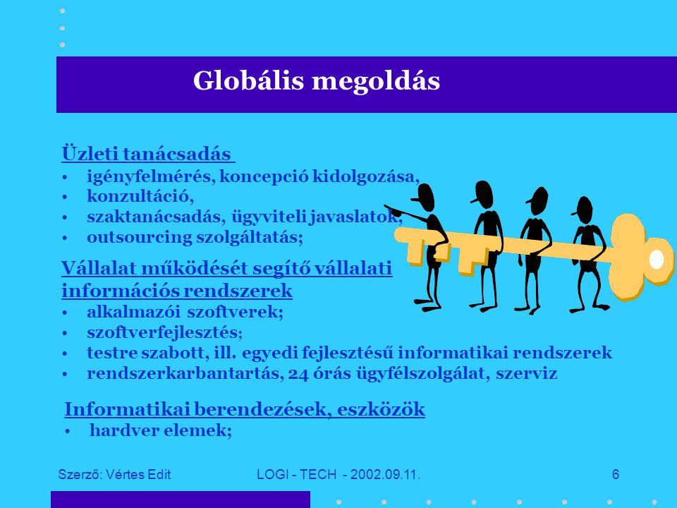 Szerző: Vértes EditLOGI - TECH - 2002.09.11.5 Előzetes igényfelmérés Folyamatos támogatás TANÁCSADÁSIINTEGRÁCIÓTERVEZÉS PROJECT MENEDZSMENT FEJLESZTÉS Globális megoldás