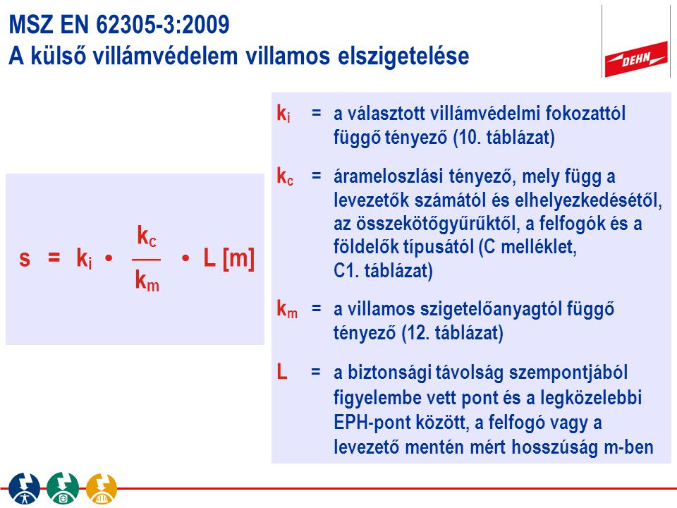 k i =a választott villámvédelmi fokozattól függő tényező (10. táblázat) k c =árameloszlási tényező, mely függ a levezetők számától és elhelyezkedésétő
