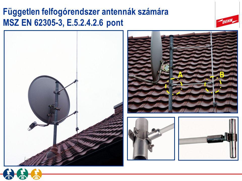 Független felfogórendszer antennák számára MSZ EN 62305-3, E.5.2.4.2.6 pont AB A B