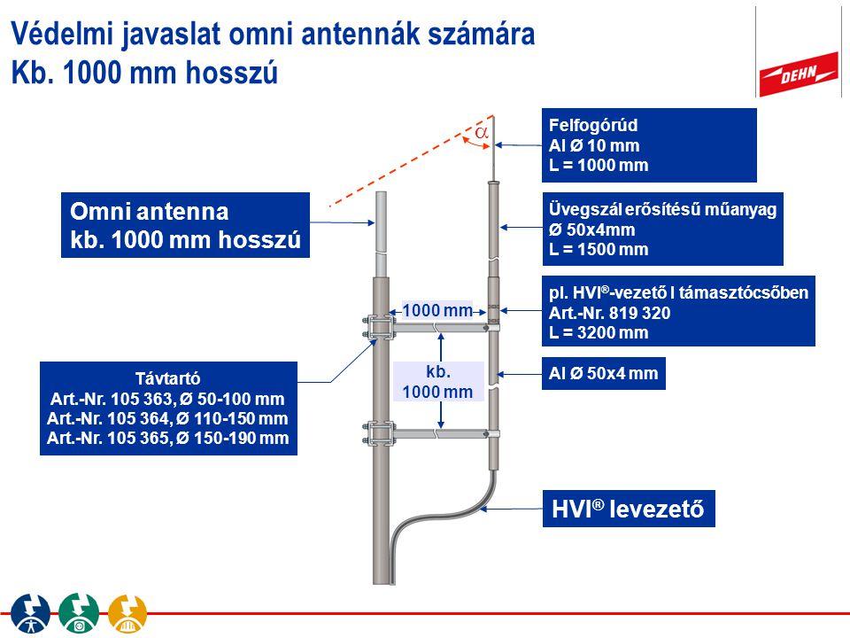 Védelmi javaslat omni antennák számára Kb. 1000 mm hosszú kb. 1000 mm Omni antenna kb. 1000 mm hosszú Felfogórúd Al Ø 10 mm L = 1000 mm HVI ® levezető
