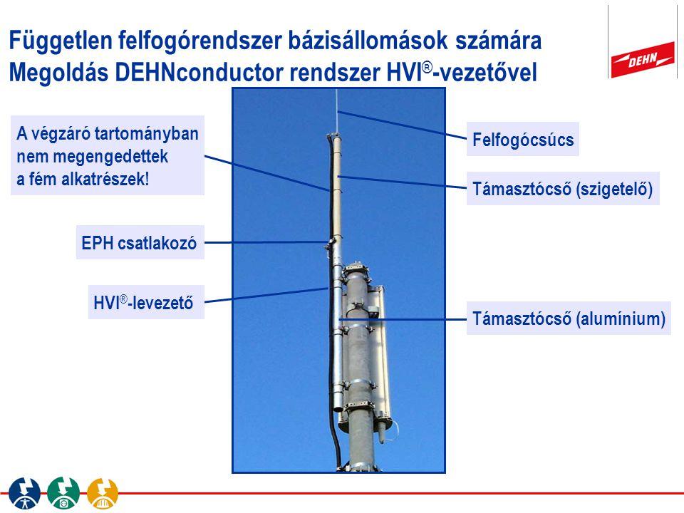 Független felfogórendszer bázisállomások számára Megoldás DEHNconductor rendszer HVI ® -vezetővel Felfogócsúcs Támasztócső (szigetelő) HVI ® -levezető