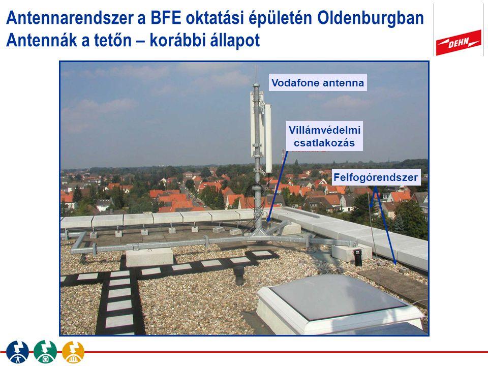 Vodafone antenna Antennarendszer a BFE oktatási épületén Oldenburgban Antennák a tetőn – korábbi állapot Villámvédelmi csatlakozás Felfogórendszer