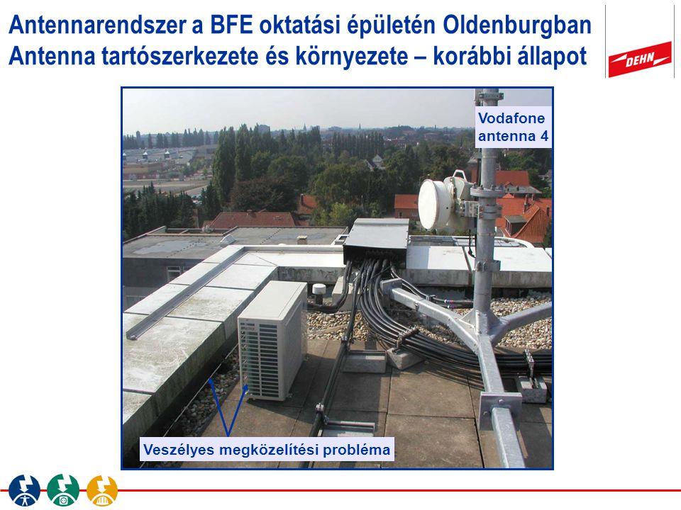 Antennarendszer a BFE oktatási épületén Oldenburgban Antenna tartószerkezete és környezete – korábbi állapot Veszélyes megközelítési probléma Vodafone
