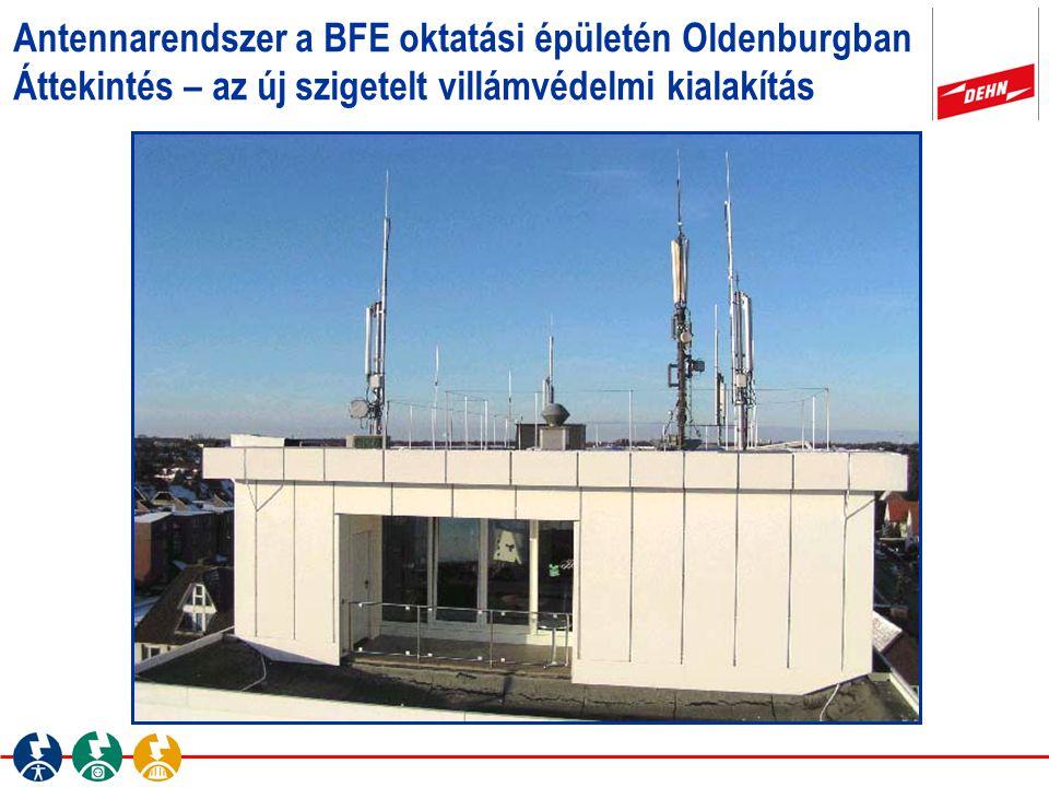 Antennarendszer a BFE oktatási épületén Oldenburgban Áttekintés – az új szigetelt villámvédelmi kialakítás
