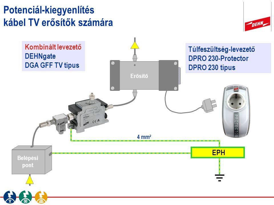 Potenciál-kiegyenlítés kábel TV erősítők számára Erősítő Kombinált levezető DEHNgate DGA GFF TV típus Túlfeszültség-levezető DPRO 230-Protector DPRO 2