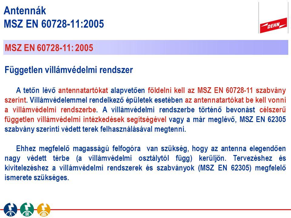 MSZ EN 60728-11: 2005 Független villámvédelmi rendszer A tetőn lévő antennatartókat alapvetően földelni kell az MSZ EN 60728-11 szabvány szerint. Vill