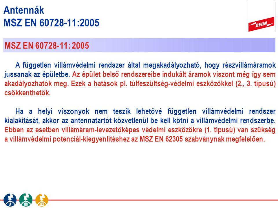 Antennák MSZ EN 60728-11:2005 MSZ EN 60728-11: 2005 A független villámvédelmi rendszer által megakadályozható, hogy részvillámáramok jussanak az épüle
