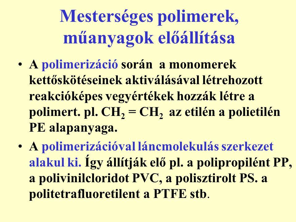 Mesterséges polimerek, műanyagok előállítása A polimerizáció során a monomerek kettőskötéseinek aktiválásával létrehozott reakcióképes vegyértékek hoz