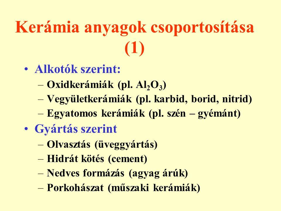 Kerámia anyagok csoportosítása (1) Alkotók szerint: –Oxidkerámiák (pl. Al 2 O 3 ) –Vegyületkerámiák (pl. karbid, borid, nitrid) –Egyatomos kerámiák (p