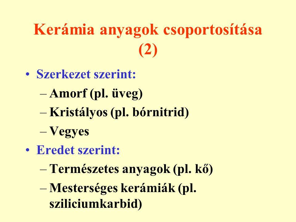 Kerámia anyagok csoportosítása (2) Szerkezet szerint: –Amorf (pl. üveg) –Kristályos (pl. bórnitrid) –Vegyes Eredet szerint: –Természetes anyagok (pl.