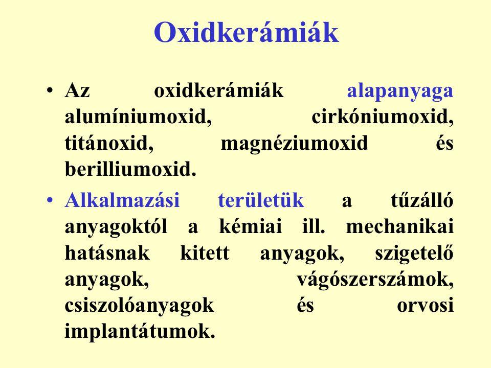 Oxidkerámiák Az oxidkerámiák alapanyaga alumíniumoxid, cirkóniumoxid, titánoxid, magnéziumoxid és berilliumoxid. Alkalmazási területük a tűzálló anyag