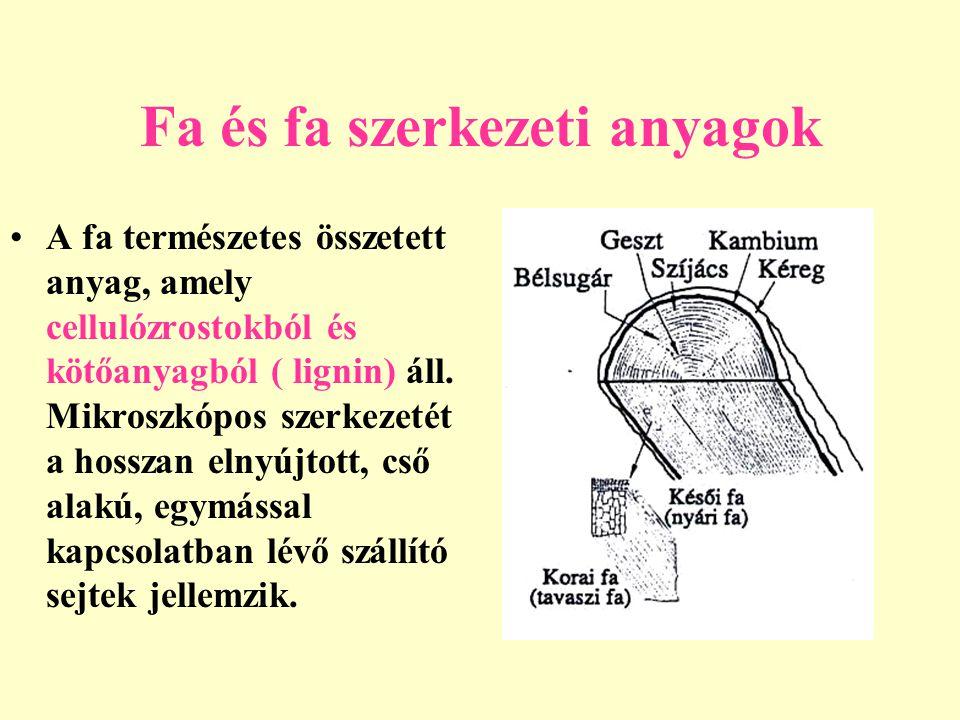 Fa és fa szerkezeti anyagok A fatörzs három jellegzetes metszete: a sugármetszet a húrmetszet bűtűmetszet