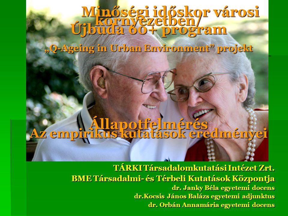 Az Újbuda 60+ program és a Q-Ageing projekt célkitűzései  Az aktív időskor elősegítése ezen belül:  Növelni az időskorúak munkaerőpiaci részvételét és  közösségi aktivitását,  Közösségi szolgáltatások javítását segíteni,  Elősegíteni a közösségi részvételt, az időskorúak bevonását az őket érintő döntésekben  Javaslatokat tenni a városi környezet idősek igényeit figyelembe vevő átalakításához