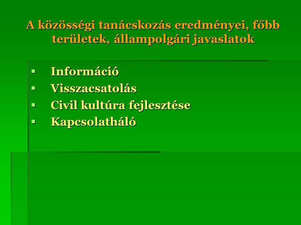 A közösségi tanácskozás eredményei, főbb területek, állampolgári javaslatok  Információ  Visszacsatolás  Civil kultúra fejlesztése  Kapcsolatháló