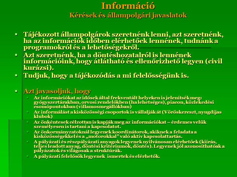 Információ Kérések és állampolgári javaslatok  Tájékozott állampolgárok szeretnénk lenni, azt szeretnénk, ha az információk időben elérhetőek lennéne