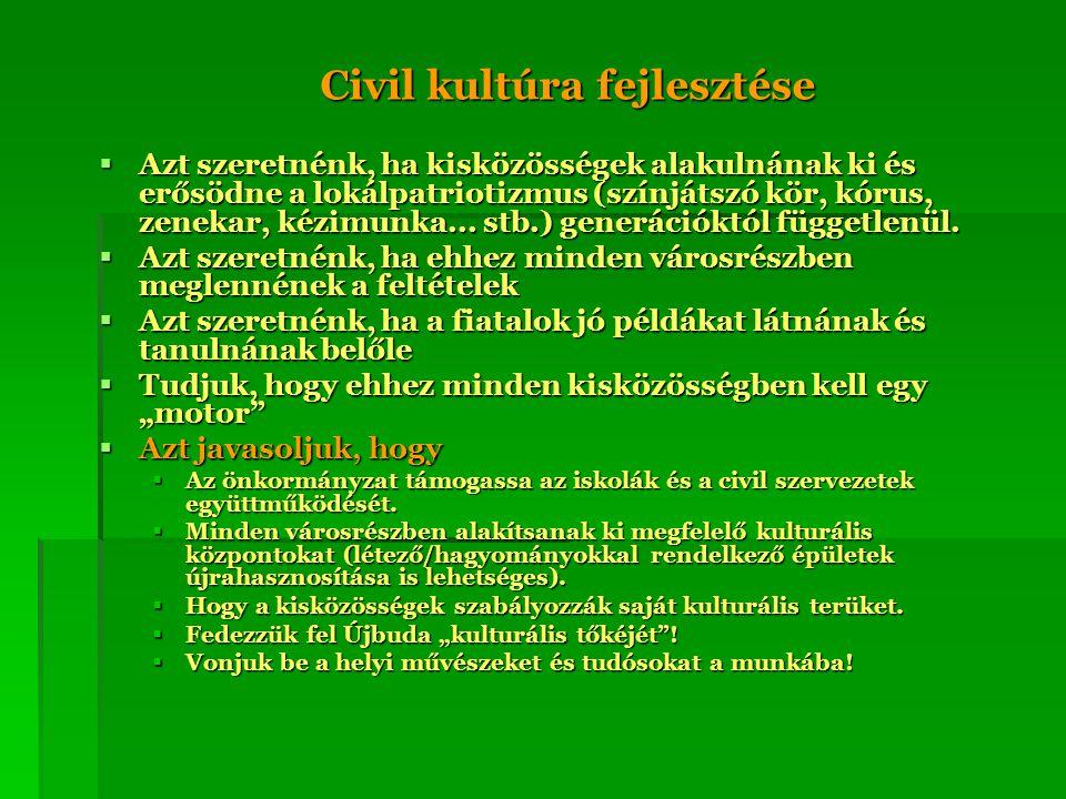 Civil kultúra fejlesztése  Azt szeretnénk, ha kisközösségek alakulnának ki és erősödne a lokálpatriotizmus (színjátszó kör, kórus, zenekar, kézimunka